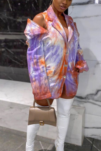 multicolor Sexy Polyester Print Turn-back Collar Outerwear