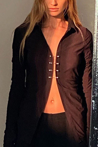 Black Street Polyester Solid Turndown Collar TOPS