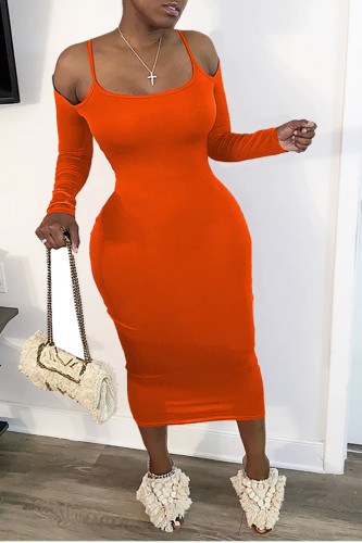 tangerine Fashion Daily Adult Twilled Satin Solid Hollowed Out Spaghetti Strap Long Sleeve Mid Calf Sheath Dresses