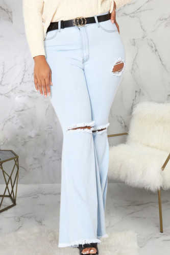 Baby Blue Sexy Denim Solid Ripped Plus Size