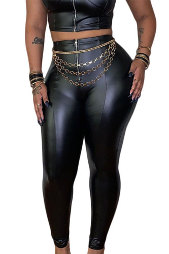 Black Sexy Faux Leather Solid Regular BOTTOMS