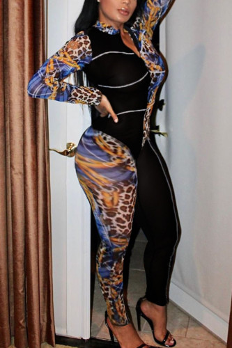 multicolor Fashion Street Adult Twilled Satin Patchwork Print Split Joint O Neck Skinny Jumpsuits