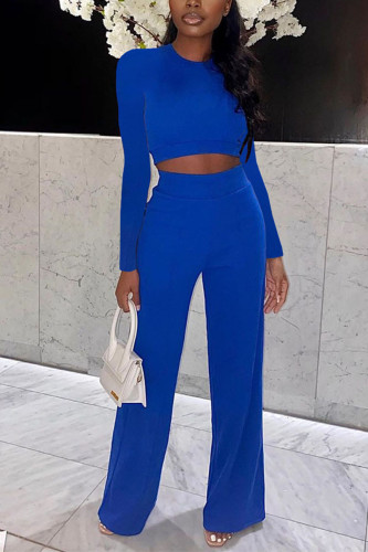 Blue Fashion Polyester Solid Split Joint O Neck Long Sleeve Regular Sleeve Short Two Pieces
