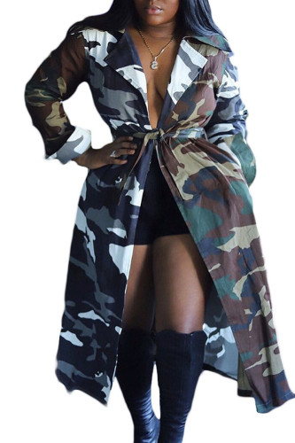 Camouflage Sexy Cotton Print Turn-back Collar Outerwear