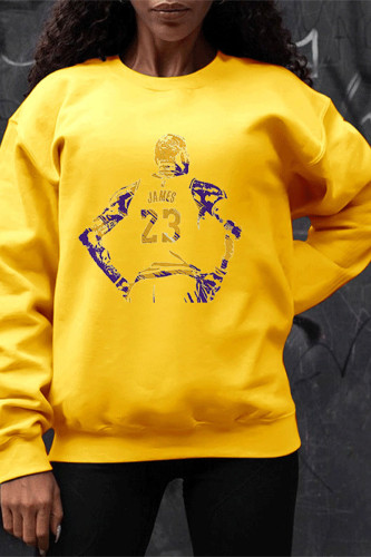 Yellow Casual Polyester Print Pullovers O Neck Outerwear