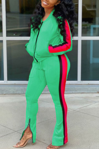 Green Casual Twilled Satin Print Zipper Collar Long Sleeve Regular Sleeve Regular Two Pieces