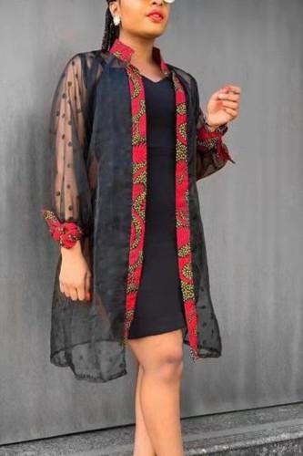Black Street Silk Dot Split Joint Mandarin Collar Outerwear