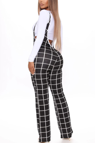 Black Work Daily Polyester Plaid Boot Cut BOTTOMS