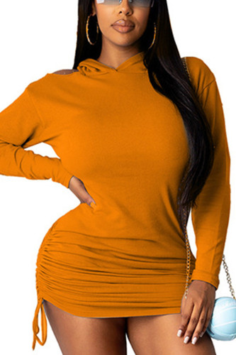 Orange Sexy Polyester Solid Split Joint Fold Hooded Collar Long Sleeve Mini Pencil Skirt Dresses