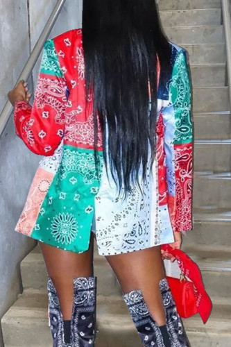 multicolor Adult Polyester Print Turn-back Collar Outerwear