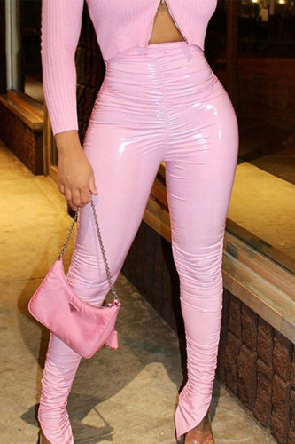 Pink Street Polyester Solid Fold Regular BOTTOMS
