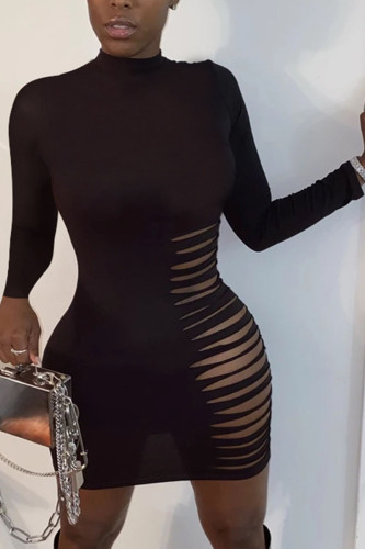 Black Fashion Street Adult Polyester Solid Ripped O Neck Long Sleeve Mini A Line Dresses