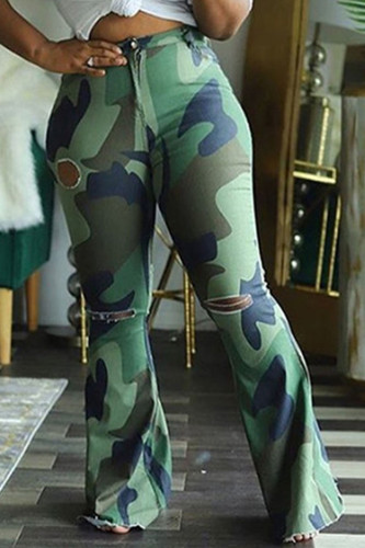 Army Green Sexy Polyester Camouflage Print Ripped Fold Straight BOTTOMS