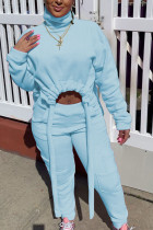 Baby Blue Sweet Polyester Solid Draw String Turtleneck Long Sleeve Regular Sleeve Short Two Pieces