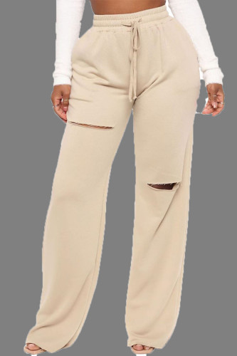 Apricot Casual Street Cotton Solid Draw String Boot Cut BOTTOMS