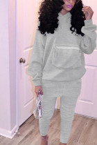 Grey Daily Polyester Solid Split Joint Pocket Hooded Collar Long Sleeve Regular Sleeve Regular Two Pieces