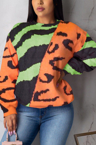 Orange Casual Polyester Print Pullovers O Neck Outerwear