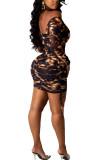 Brown Fashion Street Adult Polyester Print Draw String Backless Fold Bateau Neck Long Sleeve Mini Printed Dress Dresses