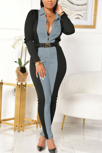 Baby Blue Fashion Sexy Adult Polyester Patchwork Solid Split Joint Turndown Collar Skinny Jumpsuits