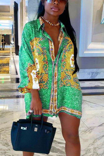 Green Sexy Adult Polyester Print Split Joint Turndown Collar Plus Size