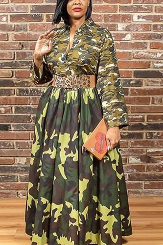Army Green Sexy Polyester Print Split Joint V Neck Long Sleeve Floor Length A Line Dresses