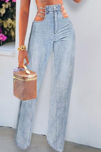 Dark Blue Fashion Casual Adult Solid Split Joint Mid Waist Straight Denim