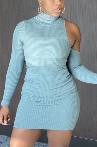 Baby Blue Sexy Polyester Solid Split Joint Turtleneck Long Sleeve Mini Pencil Skirt Dresses