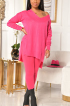 Pink Living Polyester Solid Split Joint V Neck Long Sleeve Regular Sleeve Two Pieces