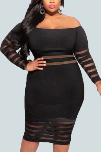 Black Sexy Polyester Solid Ripped Split Joint Bateau Neck Long Sleeve Knee Length Pencil Skirt Dresses