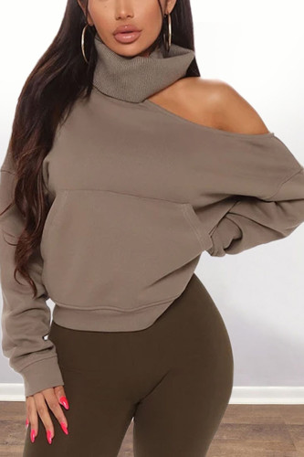Khaki Fashion Casual Adult Polyester Solid Pullovers Bateau Neck Outerwear
