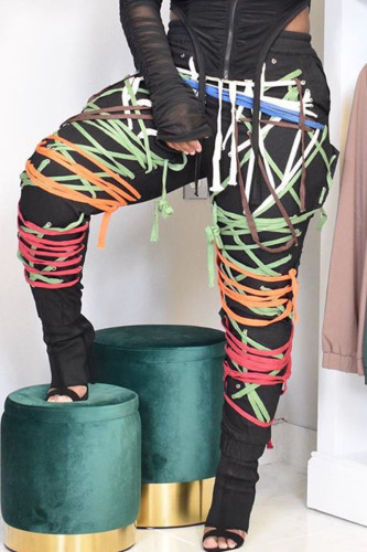 colour Fashion Sweet Adult Polyester Patchwork Draw String Pants Loose BOTTOMS