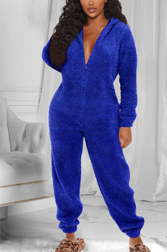 Royal blue Fashion Adult Living Plush Solid Split Joint Hooded Collar Straight Jumpsuits