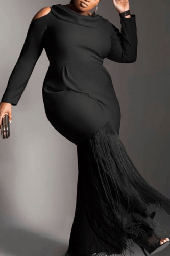 Black Sexy Polyester Solid Split Joint O Neck Long Sleeve Ankle Length Straight Dresses