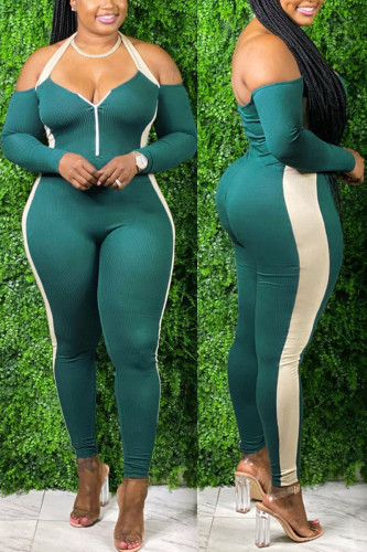 Green Fashion Sexy Adult Polyester Patchwork Solid Split Joint Halter Skinny Jumpsuits