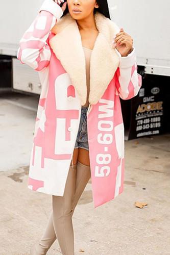 Pink Fashion Nylon Print Turndown Collar Outerwear