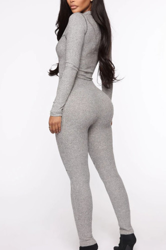 Grey Work Daily Polyester Solid Split Joint O Neck Regular Jumpsuits