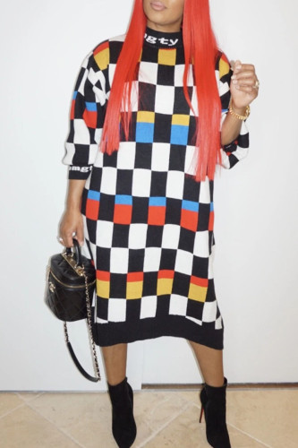 multicolor Casual Polyester Plaid O Neck Long Sleeve Mid Calf Dresses