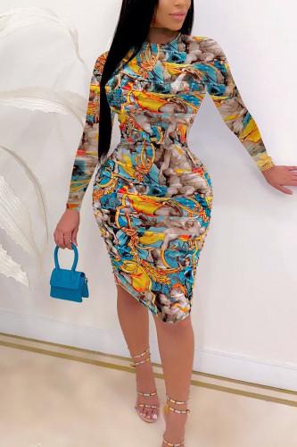 Cyan Street Polyester Twilled Satin Print O Neck Nine Points Sleeve Knee Length Wrapped Skirt Dresses