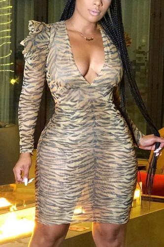 Leopard print Fashion Sexy Adult Spandex Leopard Split Joint V Neck Long Sleeve Knee Length Pencil Skirt Dresses