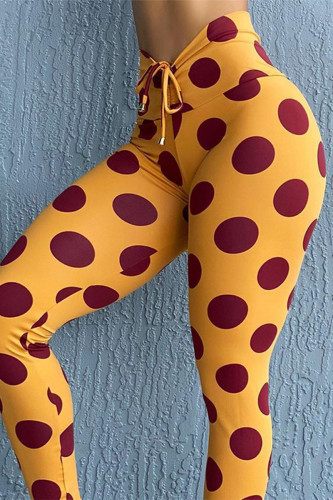 Yellow Sweet Polyester Dot Skinny BOTTOMS