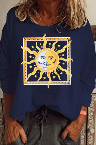 Navy Blue Sweet Cotton Print Pullovers O Neck TOPS