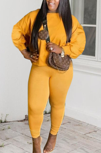 Yellow Sportswear Polyester Solid O Neck Plus Size