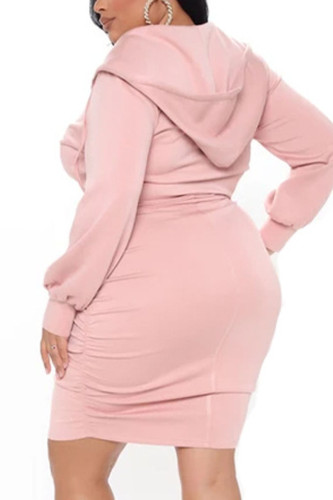 Pink Work Daily Polyester Solid Split Joint Hooded Collar Pencil Skirt Plus Size