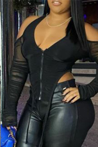 Black Sexy Polyester Solid Split Joint See-through Backless V Neck TOPS