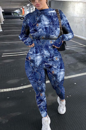 Blue Fashion Sportswear Adult Polyester Print Split Joint O Neck Skinny Jumpsuits
