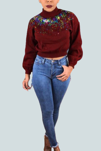 Wine Red Street Polyester Solid Sequins Split Joint O Neck Outerwear