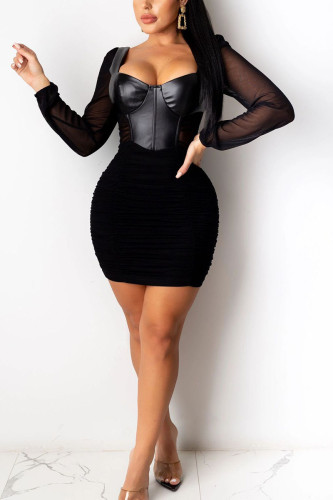 Black Sexy Casual Polyester Solid Fold O Neck Long Sleeve Knee Length Long Sleeve Dress Dresses