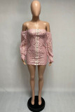 Pink Fashion Sweet Adult Lace Solid Hollowed Out See-through Bateau Neck Long Sleeve Mini Lace Dress Dresses