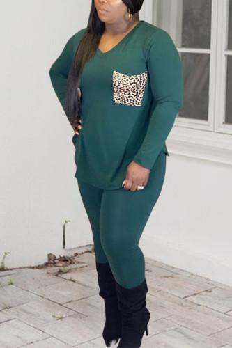 Green Sportswear Polyester Print Split Joint O Neck Plus Size