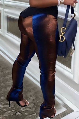 Blue Sexy Polyester Print Sequins Skinny BOTTOMS